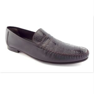 MEZLAN Brown Genuine Ostrich Slip On Loafers 13